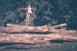 Roxane above trees